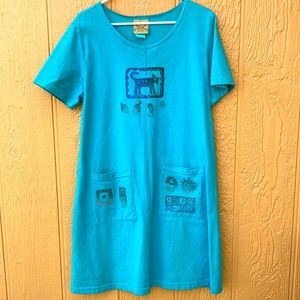 Blue Cactus Tee Dress Made in USA green L